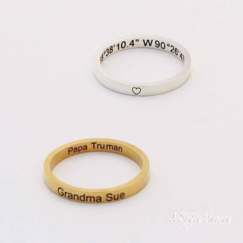 Custom Ring, Engraved Name Ring, Dainty Coordinate Ring, Personalized Latitude Ring, Longitude Jewelry, Gift For Her