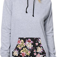Neff Girls Vacation Heather Grey & Floral Pullover Hoodie
