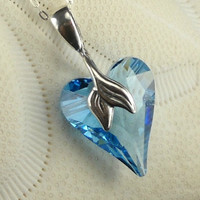Swarovski Crystal Heart Necklace Aquamarine