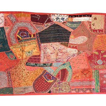 Mogul Indian Tapestry Embroidered Handmade Patchwork Wall Hanging India Home Decor 60x40: Amazon.ca: Clothing & Accessories