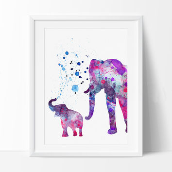 Elephant Print, Elephant Watercolor Wall Art, Elephant Painting, Illustration Elephant Poster Wall Decor (115)