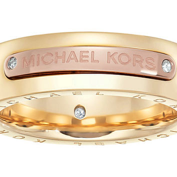 Michael Kors Tailored Two-Tone Logo Plaque Band Ring