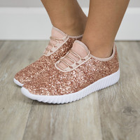 The Gabrielle Glitter Sneakers Rose Gold