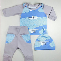 Newborn set, Baby Boy Coming home outfit, Coming home set, Baby boy hospital outfit, organic clothing, newborn boy outfit, READY TO SHIP