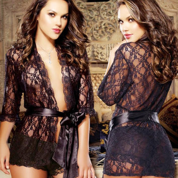 On Sale Cute Hot Deal Sexy Black Sleepwear Exotic Lingerie [6595788419]