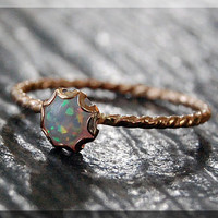 Gold Opal Ring, October Birthstone Ring, Mini Inverted Gemstone Ring, 14k Gold Filled Ring, Opal Stacking Ring, October Birthstone Jewelry