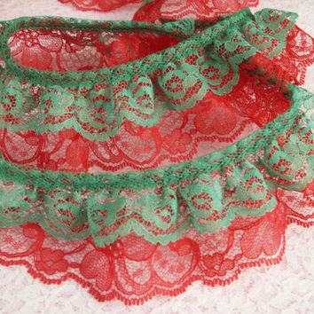 Gathered Double Ruffled Lace Trim, Green and Red Lace ,Apparel, Costumes, Doll Clothes, Fashion Accessories, Decorative Lace Trim, 2 YARDS