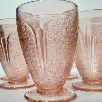 Jeannette Cherry Blossom Pink Glass Tumblers, Cherry Blossom Footed Glasses| Pink Depression Glass