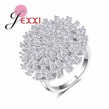 JEXXI Hyperbolic Big Flower Ring Micro Inlay White Clear Cubic Zirconia Stone Brilliant Pure Silver Jewelry Women Ring 925 Stamp
