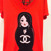 SPECIAL HOLIDAY EDITION RED V NECK T SHIRT WITH BLACK CHANEL INSPIRED MATRYOSHKA!