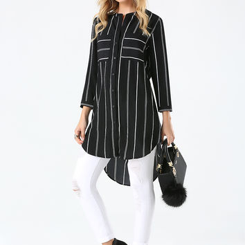 bebe Womens Mix Stripe Long Blouse Black White