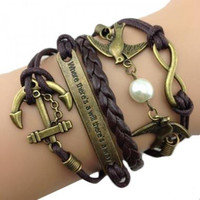 Anchor Pigeon Character Decorated Layered Bracelet