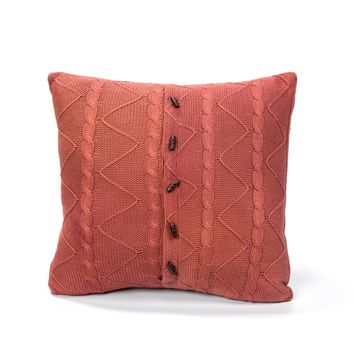 BURNT UMBER CABLE AND TWIST KNIT PILLOW