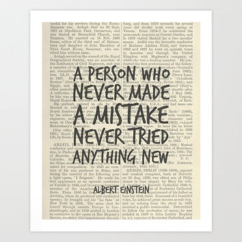 Albert Einstein Inspirational Quote Printable Art, A person who never made a mistake never tried anything new, Motivational Wall Decor Print