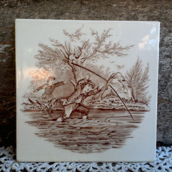 "Antique Tile, Victorian Era, 1800s, ""Fishing Trip"", Brown and White Transferware, Fishing Scene, Kitchen Tile, Wall Decor, Manscave Decor"