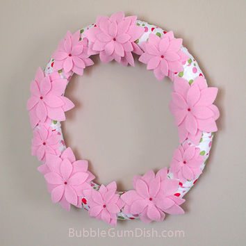 Pink Felt Flower Wreath Felt Poinsettia Decor Christmas Wreath Polka Dot Wreath