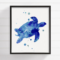 Watercolor Turtle, Sea Turtle, Turtle Art Print, Turtle Painting, Turtle Poster, Turtle Illustration, Coastal Wall Art, Bathroom Decor, Blue