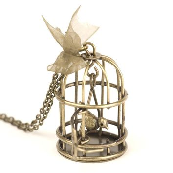 81stgeneration Vintage brass bird cage pendant long chain necklace