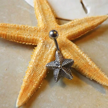 Starfish Belly Button Jewelry With Surgical Steel Ball Belly Ring