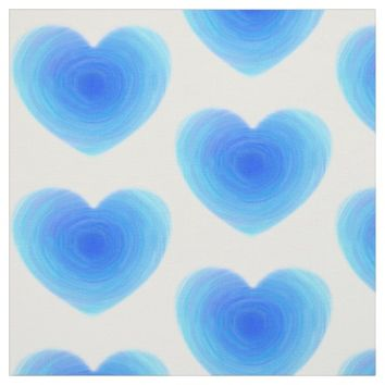 Deep Blue Water Heart - Love in Shades of Blue Fabric