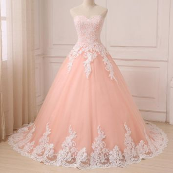 Color Wedding Dresses Coral Sweetheart Sleeveless Tulle Wedding Gowns Ball Gown With White Applique