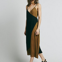 Free People Womens Color Block Wrap Dress