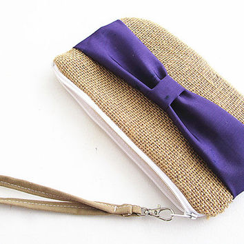 Bow Burlap Clutch- burlap clutch -bridal clutch- bridesmaid clutch- Roal Purple Bow Clutch.