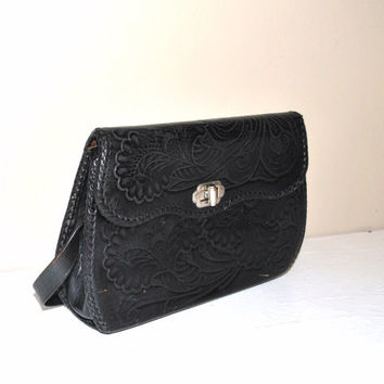 1970s tooled leather purse / black carved leather retro hand bag