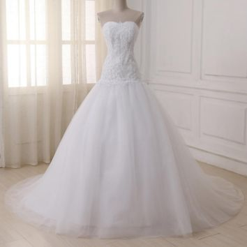 Elegant Tulle Wedding Dresses Sweetheart Lace-Up Back Beaded Sequin Bridal Gowns