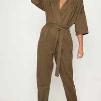Khaki Denim Utility Jumpsuit