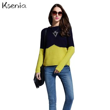 Ksenia sweaters pullover patchwork hit color sweater woman slim jumper warm Western style 2017 casual new sweater sueter mujer