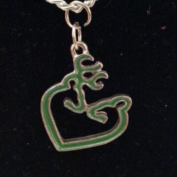 Green browning buck and doe kissing heart style necklace, earrings, key ring, set jewelry