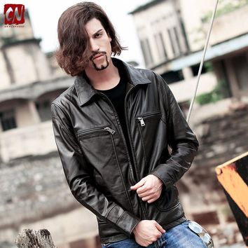 New Slim Fit Leather jacket for mens suede Coat casual Harley motorcycle leather jacket spring autumn handsome motociclista coat