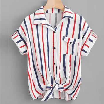 Red White & Blue Striped Casual Pocket Blouse