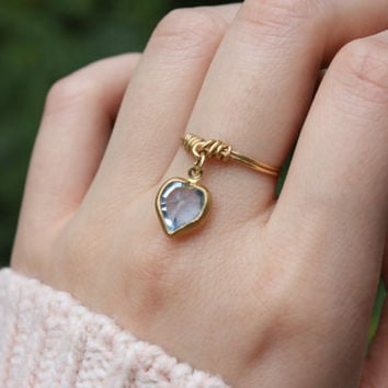 Gold heart ring, Blue heart ring, Love ring, Thin gold ring, Dangle Ring, Charm Ring, Wire Ring, Wire Wrapped, Dainty Ring, Gift, Stackable