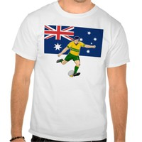 Rugby player kicking australia flag tee shirts