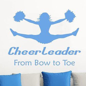 Wall Decals Quotes Cheerleader From Bow To Toe Phrase Home Decor Bedroom C286