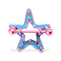 Pair of Candy Starfish Sea Star Nipple Shield Ring 14ga