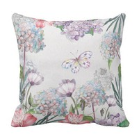 Watercolor Garden Flowers Butterfly Throw Pillow