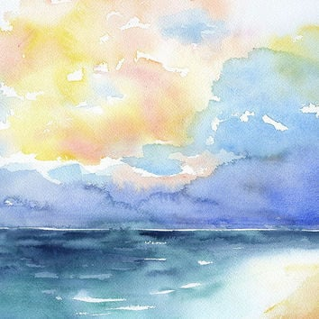 Abstract Watercolor Painting - Colorful Sea - Ocean - Beach - Landscape 8 x 10