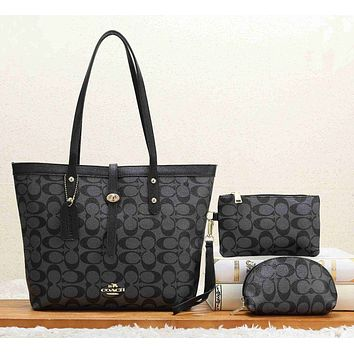 COACH Women Leather Handbag Shoulder Bag Crossbody Purse Wallet Set Three Piece