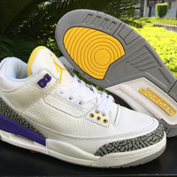 Nike Mens Air Jordan 3 Retro White/Purple/Yellow Leather Basketball Shoes