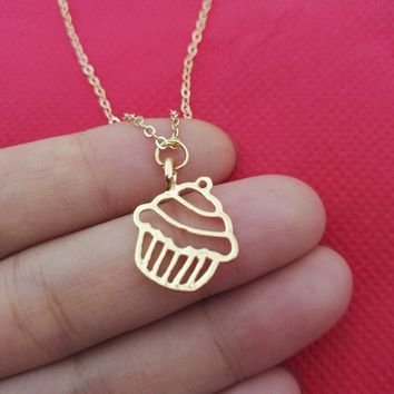 New  Beautiful Little Charm Cupcake Necklace Necklaces simple food Necklaces & Pendants For Best Friends SanLan