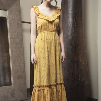 Honey Eyelet Ruffle Maxi Dress