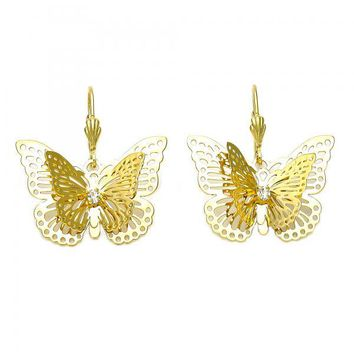 Gold Layered 5.091.012 Dangle Earring, Butterfly and Filigree Design, with White Cubic Zirconia, Polished Finish, Gold Tone