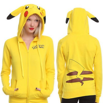Women's Trending Popular Pokemon Pikachu Loose Long Sleeve Shirt Hoodie Zipper Jacket Outerwear _ 9066