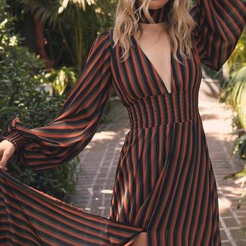 Voodoo Princess Black Orange Vertical Stripe Pattern Long Lantern Sleeve Plunge V Neck Choker Slit Casual Maxi Dress