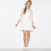 Lace Bell Sleeve High Waist A-Line Pleated Mini Dress