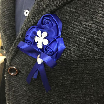 Royal Blue Rose Silk Flower Wrist Corsage Hand Flower Bride Bridemaids Groom Boutonniere Prom Wedding Flower