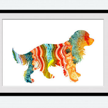 Golden Retriever puppy poster Dog puppy poster Golden Retriever watercolor print Dog print Animal poster Home decor Wall hanging art W428